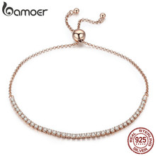 Buy BAMOER Valentine Day Gift 925 Sterling Silver Dazzling Gold Strand Bracelet Tennis Bracelet Women Sterling Silver Jewelry SCB046 for $10.69 in AliExpress store