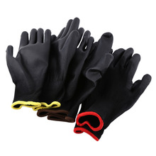 New 12Pairs/Lot Black Color Nylon PU Safety Palm Coating Work Gloves Yellow / Red / Brown Strips