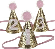 Boy And Girl First 1st Birthday Hat Gold One Two Three Year Old Glitter Princess Hat Hair Accessory