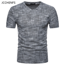 Buy JCCHENFS 2018 Summer Fashion Brand Men's T-Shirts Cotton Linen Short Sleeve Blouse Casual V-neck Large Size T Shirt Men for $9.89 in AliExpress store