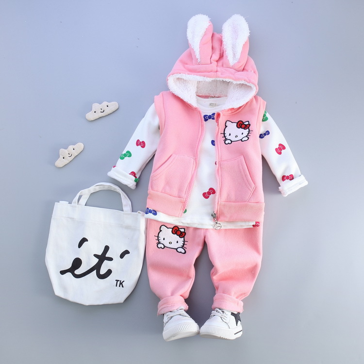 three style childrens wear fashion female baby hooded Three-piece cotton suit kids set baby clothes boys and girls clothing<br><br>Aliexpress