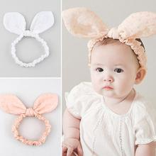Children Lovely Cute Rabbit Ears Hair Band Cotton Soft Comfortable Elasticity Headband White Pink Baby Headwear Y3