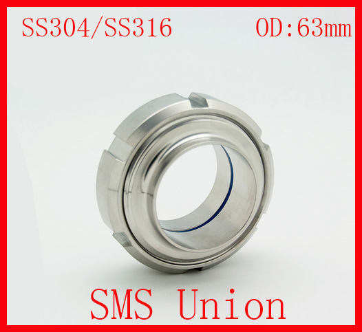 63MM SS304/SS316 Sanitary SMS Standard Set(1 X Nut,1 Liner,1 Male,1 Gasket) for Ends Pipe Tubing Connection<br><br>Aliexpress