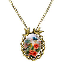 Summer Style Jewelry Vintage Antique Bronze Oval Flower Bird Alloy Pendant Necklace Glass Cabochon Statement Necklace for Women