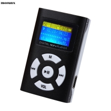 mosunx Hifi USB Mini MP3 Player LCD Screen Support 32GB Micro SD TF Card Black Without Earphone Speaker