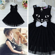 2016 Fashion Toddler Baby Kids Girls Princess Dress Sleeveless Bow-knot Kitten CAT Black Lace Tutu Dress Cute Clothes(China)