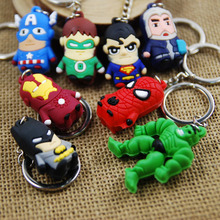 Movie Series The Avengers Key Chain Q Version Hulk Batman Superman Spider-man Thor Key Chains Keyring Bag Pendant For Kids Gift