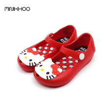 Mini Melissa Hello Kitty Jelly Shoes Sandals Boots Waterproof Shoes Kids Melissa Cats High Quality EUR 24-29 Girls Sandals(China)