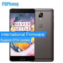 International Firmware Oneplus 3T A3010 Snapdragon 821 Mobile Phone 6GB RAM Quad Core 64GB Dual SIM 5.5 inch Oxygen OS 3400mAh