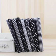 7pcs/lot 25x25cm Cotton Fabric Black Series Floral Stripe Dot Grid Charm Tissue Sewing Cloth Crafts Materials Polka Dot Fabrics(China)