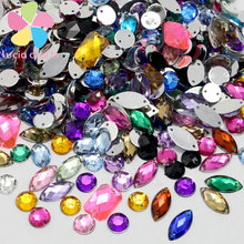 Lucia Craft Approx 150pcs/lot 8-15mm Sew On Flatback Rhinestone Random mixed colors Two Holes Beads Stones For Clothes 003018034