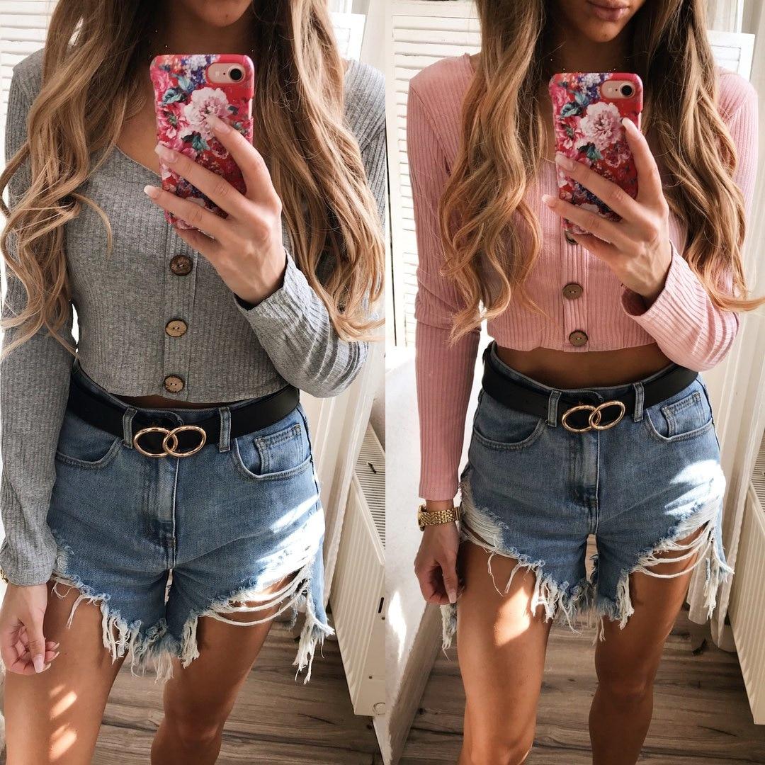 Crop Top Women Long Sleeve Button O-neck Spring Summer T Shirt Women Sexy Camiseta Mujer Women Tshirt Tee Shirt Femme 2019 Tops7