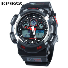 2017 EPOZZ Brand G Style Men's Dual Display multi-functional Watch Extreme Sports Wristwatch Waterproof 100m Double Movement(China)