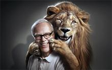 animals old people men lions smiling photo manipulation gray background glasses 3 Sizes Silk Fabric Canvas painting Poster Print(China)