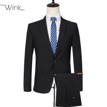 (Jacket + Pant) Men's Formal Suits With Pants Wool Wedding Suits Slim Fit Blazer Suits Ternos Masculino Classical Black E554