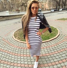 2017 Summer Clothes Black And White Striped Dress Round neck Casual Slim Robe Short Sleeved Street Styel Women's Dress(China)