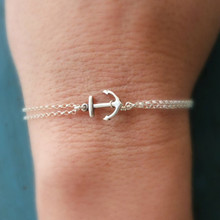 SL1020 pulseras mujer Women Bracelets Double Chain Anchor Tiny Minimalist Jewelry Summer Beach Bracelet Dainty(China)