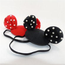 Cartoon Animal Ear Headband for Kids Adults Free Size Party Celebration Black Red Mouse Ear Stretcy Head Bands Simulated Pearls(China)