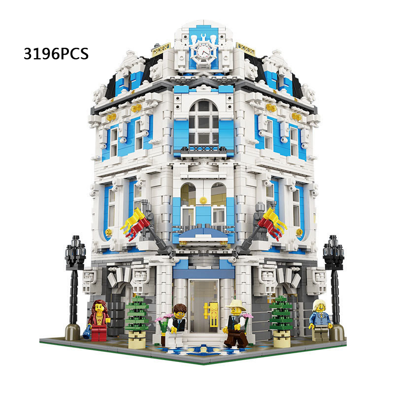 Hot MOC creator street view Sun Shine Hotel DIY building block Waiter guest cook lepins bricks compatible withlego city toys<br><br>Aliexpress