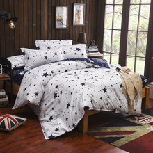 Kids Children Student Star Moon White Blue Bedding Set Twin Full Queen King Bed Linen Set Quilts Duvet Cover Bedsheet Bedclothes