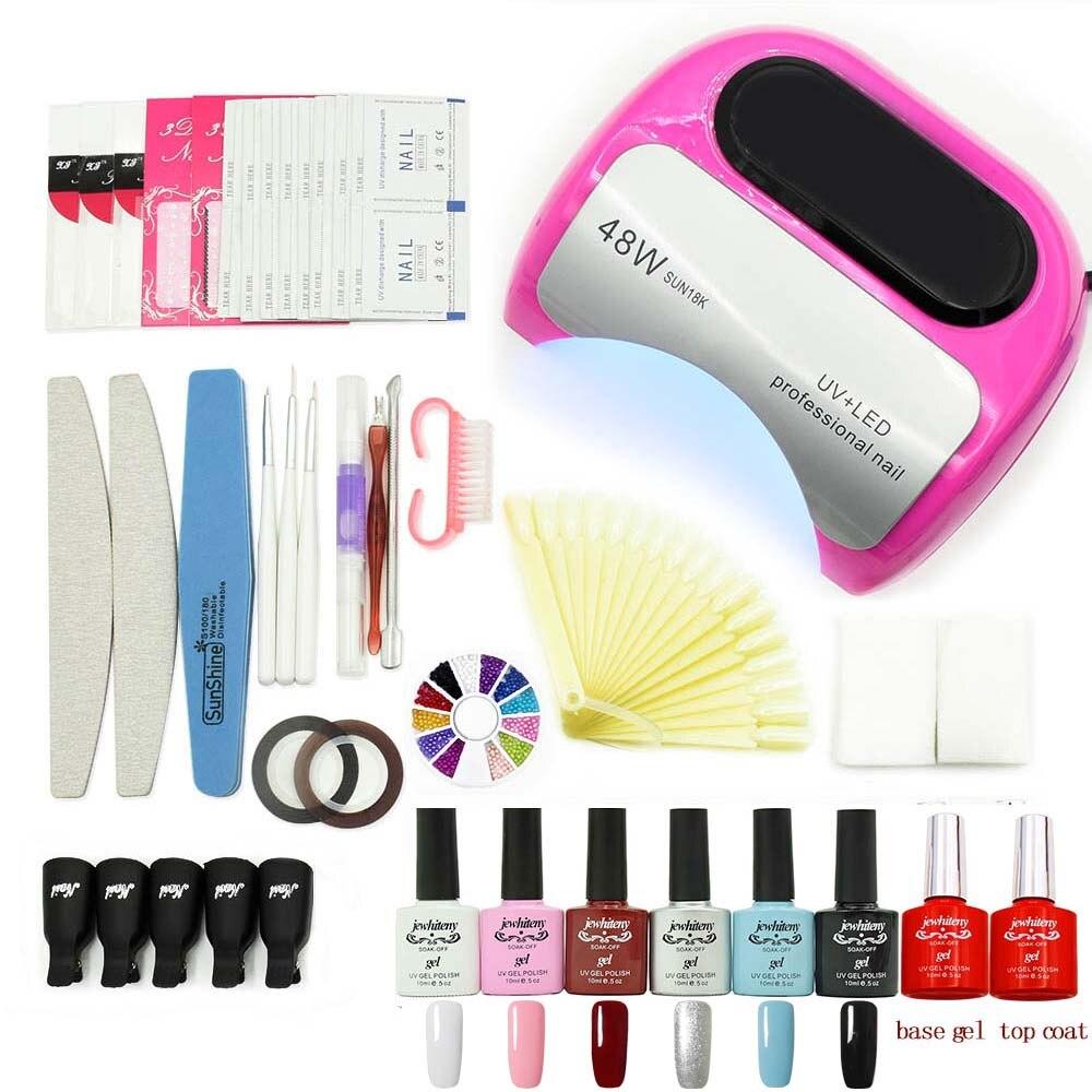 nail art set Soak-off nail Gel polish Top &amp; Base Coat gel varnishes nails polish kit UV LED lamp 6 colors art tools kit manicure<br>