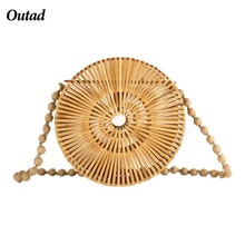 OUTAD 2018 Summer Handmade Hollow Out Woven Bamboo Bag Beach Straw Shoulder Bags For Women(China)