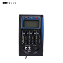 ammoon Guitar Pickup EQLC-5 5-Band EQ Equalizer System Acoustic Guitar Preamp Piezo Pickup LCD Screen Tuner Guitar Accessories(China)