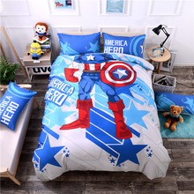 3D Captain Iron Man Cartoon Kids Boys Bedding set Queen Twin size Fit sheet Bed sheet set Duvet/Quilt Cover Pillow shams