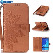 Flower Pattern PU Leather Wallet Flip Book Cover Case for Samsung Galaxy J3 J5 / J3 J5 J7 2016 Phone Case With Carry Strap