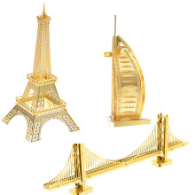 EETOYS Gold Brass Edition Metal DIY Model Sailing Hotel 3D Free Plastic Puzzle Puzzle Realistic Puzzle Eiffel Tower(China)