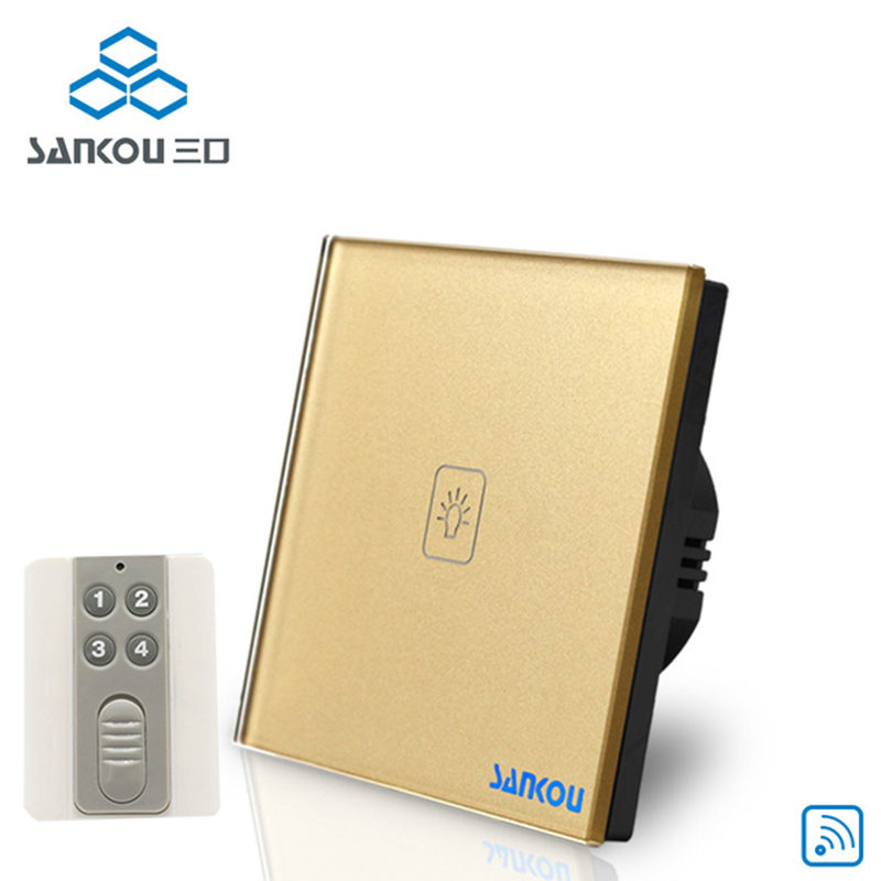 Cnskou EU Standard 1Gang Wireless Remote Switch 250V Smar Touch Switch Gold Crystal glass panel Wall Light Switches Factory <br>
