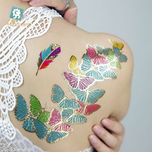 Latest 2016 Gold Foil Silver Tattoo on Body Temporary Metallic Fake Jewelry Tattoos Hair Body Flashing Butterfly Feather Tattoo