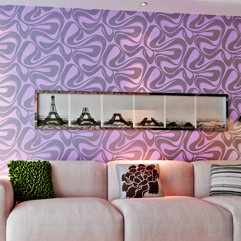 Modern Elegant Purple Fabric Wallpapers Best Bedding Room Non-woven Eco-friendly Wall Coverings  Free Shipping QZ0443<br><br>Aliexpress