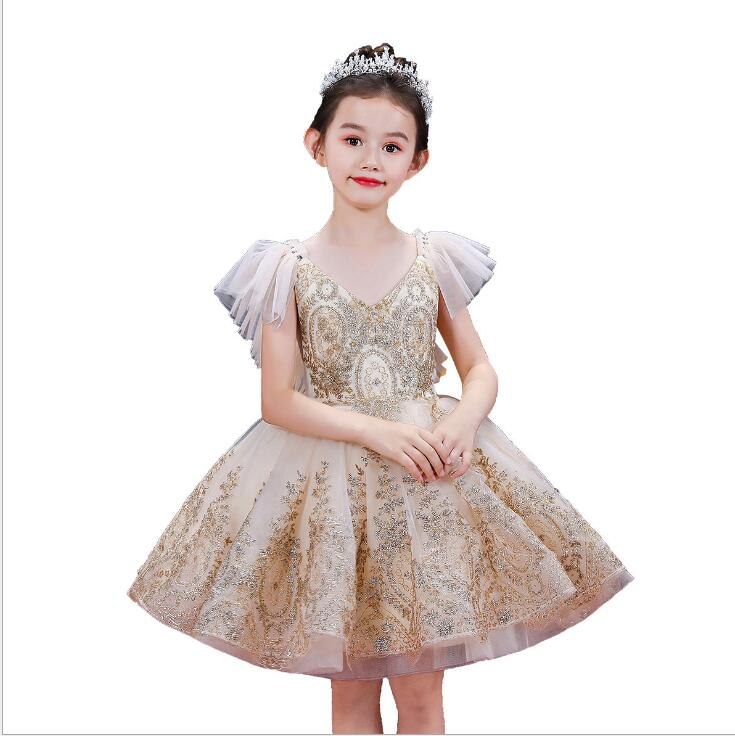 New Gold Sequin Lace Girl First Communion Dress Tulle Party Ball Gown Flower Girl Dress For Wedding Kid Baptism Princess Vestido