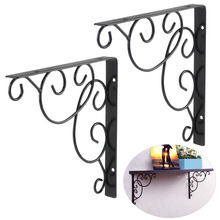 OUNONA 2pcs Durable iron Wall Mounted Floral Style Shelf Brackets for Bookrack / Calpboard / Set Top Box free shipping(Black)