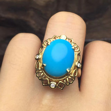 15*11.5mm 2.23g gold 2.6grams up class 18k gold fine jewelry blue natural US turquoise ring for women(China)