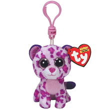 "Ty Beanie Boos 4"" 10cm Glamour Pink Leopard Clip Plush Keychain Stuffed Animal Collectible Big Eyes Doll Toy"