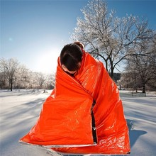 Outdoors Winter Anti-radiation Insulated Heat Warm Emergency Blankets First Aid Safety Survival Sleeping Bag PE Orange Color(China)