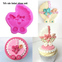 DIY Baby car and Bow Silicone Fondant Mold DIY Cake Decorating Tools chocolate Baking accessories F0911(China)