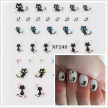 1sheet black 3D cat design easy Transfer Nails Art Sticker with Rhinestones lady manicure tools Nail Wraps Decals