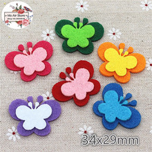 34x29mm Non-woven patches butterfly two-double Felt Appliques for clothes Sewing Supplies diy craft ornament