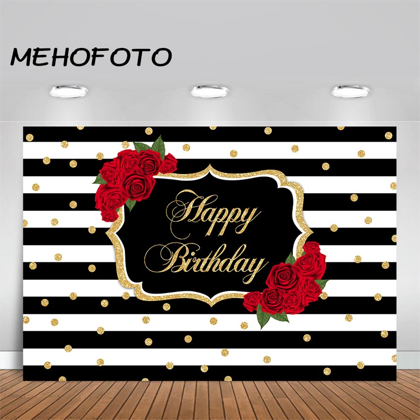 Background Custom Black And Silver Striped Happy Birthday Backdrop High Quality Computer Print Party Backgrounds High Standard In Quality And Hygiene Camera & Photo