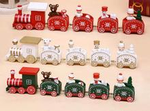 Christmas train five cartoon children gifts wooden small train window ornaments