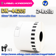 2 Refill Rolls Compatible DK-44205 Label Removable Glue 62mm*30.48M Continuous Compatible for Brother Label Printer DK-4205(China)