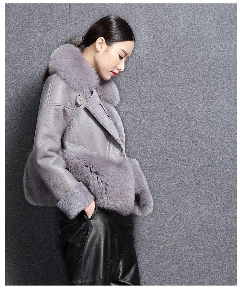 genuine sheep leatherskin jacket fox fur cooar coats (2)