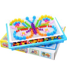 DIY 3D Puzzle Toys 296 Pieces Mushroom Nails Baby Plastic Early Educational Kids Toys Creative Mosaic Kit Interactive Plaything