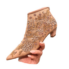 shoe woman 2018 autumn mesh rhinestone booties pointed and ankle boots short  tube female cat with cd0f2581c98b