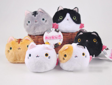 Kawaii 6Colors Cat Toy , 7CM Kawaii Plush Cat Beads Stuffed Cat DOLL TOY ; Soft Decor TOY Wedding Bouquet TOY DOLL
