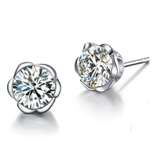 Fine Jewelry Crystal 925 Silver Earring Rhinestone Round Trendy Cute Created Gold Color Stud Earrings For Women/Girl