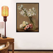 Home Decor Vintage Daffodils and Wild Roses Oil Painting for Living Room Wall Decorative Flowers Painting Christmas Gifts Ship(China)